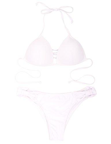 Costume Up Donna Criss Bianco Intrecciato A Bikini Relleciga cross Push Bottom Top Bow Triangolo rrwx0Sdg