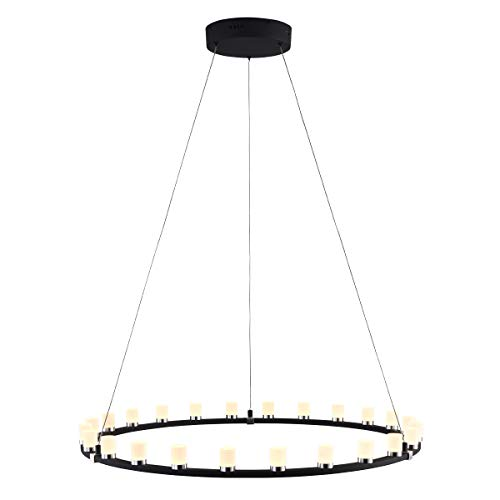 mirrea 50W Modern Dimmable LED Chandelier Pendant Light Warm White Round Shape Matte Steel Black Painted