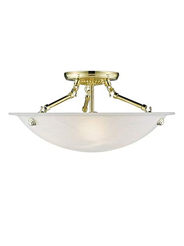 Livex Lighting 4273-02 Flush Mount with White Alabaster Glass Shades, Polished Brass