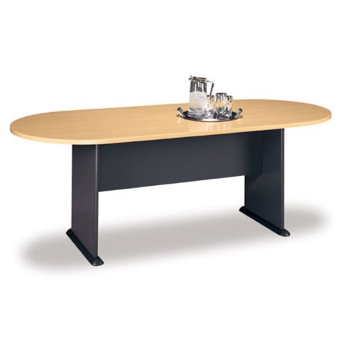 Bush Racetrack Conference Table - Savannah Beech with Graphite Gray Base - - Graphite Racetrack Table Conference