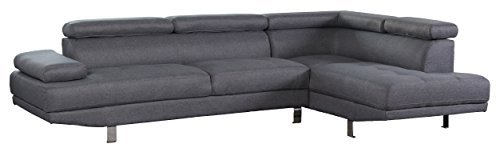 - Container Furniture Direct S0135R-2PC Rangel Elegance Upholstered Contemporary Modern Right-Sided Sectional Sofa, 110.2