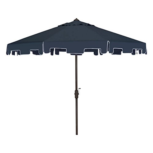 Cheap Safavieh Outdoor Collection Zimmerman Crank Market Umbrella with Flap, 9′, Navy