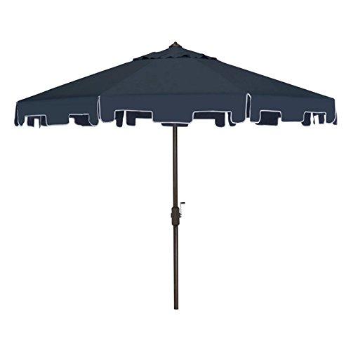 Safavieh Outdoor Collection Zimmerman Crank Market Umbrella with Flap, 9', Navy