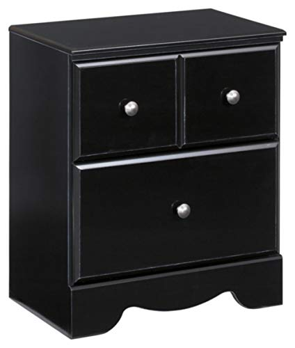 Ashley Furniture Signature Design - Shay Nightstand - 2 Drawer - Contemporary Style - Almost Black
