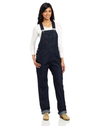 Dickies Women's Denim Bib Overall, Dark Indigo Black, Extra Small