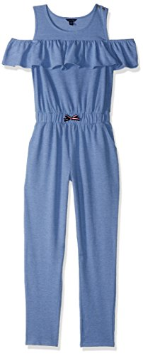 Tommy Hilfiger Girls' Big Printed Jumpsuit, Clear/Blue Heather, Large (12/14)
