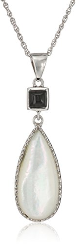Chalcedony Drop Pendant - Sterling Silver Mother of Pearl and Black Chalcedony Teardrop Pendant Necklace, 18