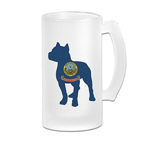 Patriotic Pitbull Idaho State Flag Frosted Glass Stein Beer Mug - Personalized Custom Pub Mug - 16 Oz Beverage Mug - Gift For Your Favorite Beer Drinker - Pit Patriotic Bulldog