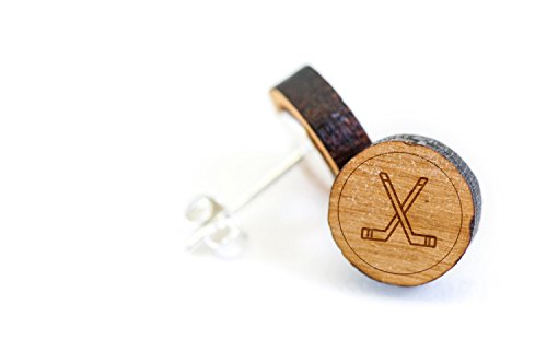 Price comparison product image WOODEN ACCESSORIES COMPANY Wooden Stud Earrings With Hockey Sticks Laser Engraved Design - Premium American Cherry Wood Hiker Earrings - 1 cm Diameter