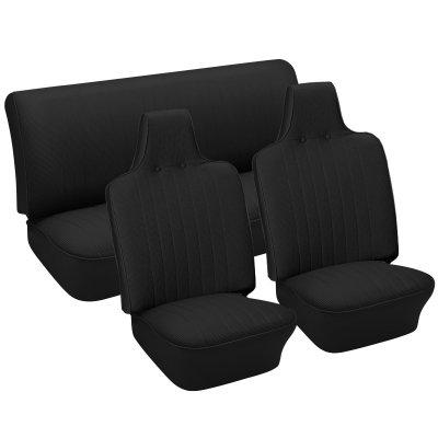 Seat Basketweave (VW Seat Upholstery, Full Set, Black Basketweave Vinyl, Beetle/Super Beetle 1970-1972)
