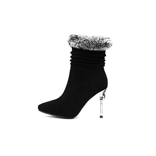 Estilete Cuero Negro Europeo Soporte Invierno Sexy Modelos De Moda En 2018 Alto Negro Tamaño 38 Tacón Punta Nuevos Botas Otoño Zapatos color E PvU45qwWx