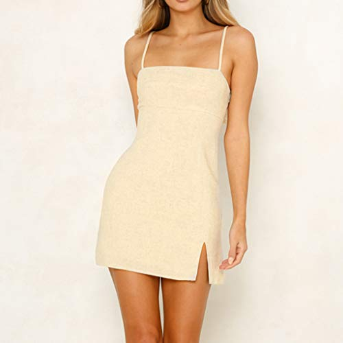 Pasato Women Camisole Sleeveless Pure Color Fork Opening
