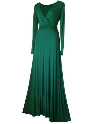 The Look Para Larga Maxi Vestido Stars Básico Manga Verde Mujer For Esmeralda qC1CTx5