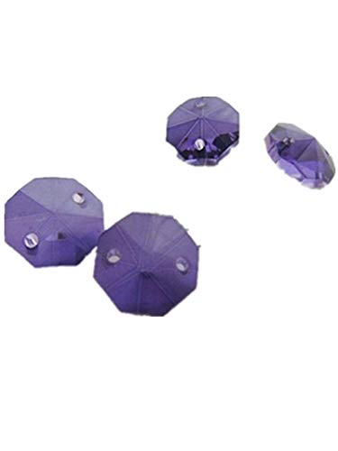Faceted Double-Hole Suncatcher Beads Crystal Octagon Beads 14mm DIY Jewellery Finding (200Pcs per Pack, Purple)