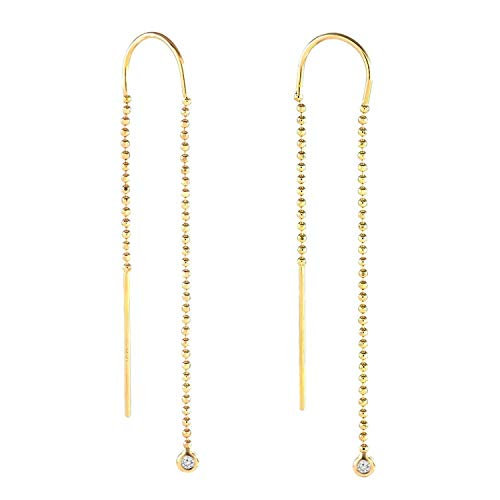 - TousiAttar Gold Diamond Threaders Earrings - Drop Bead Chain Jewelry - 0.10 tcw Round Brilliant Cut Hanging Earrings Real Withe Small Diamond - 14k Yellow Rose and White Gold for Women and Girls