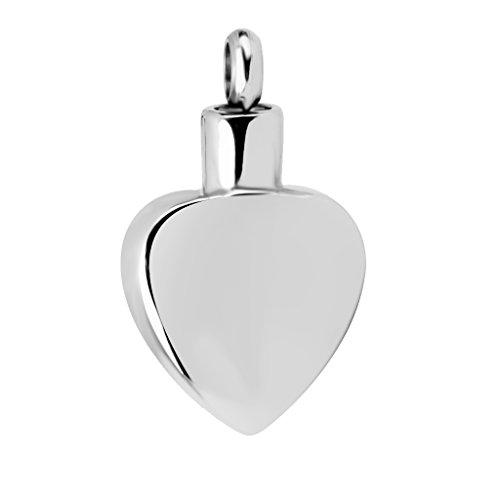 Pendentif de Cendres Urne Souvenir Coeur en Acier Inoxydable pour Fabrication de Collier