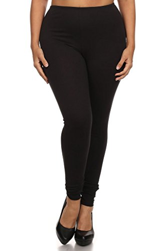 Modern Kiwi Solid Knit Long Leggings Black 2X