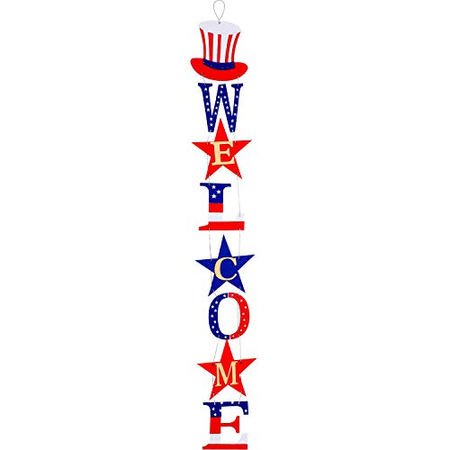 4th of July Welcome Door Sign American Welcome Party Sign Patriotic Hanging Decorations with Independence Day Elements for Independence Day Party Supplies Outdoor Indoor Use (1)