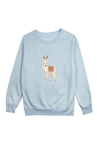 Dimensione Dimensione FuweiEncore Pullover Pullover Collo Azzurro Maniche con Small Colore Lunghe Azzurro Cervo Donna e da a q4wZxq7r