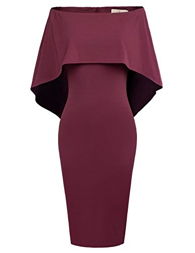 GRACE KARIN Women Off Shoulder Batwing Cape Midi Dress XXXL Wine Red ()