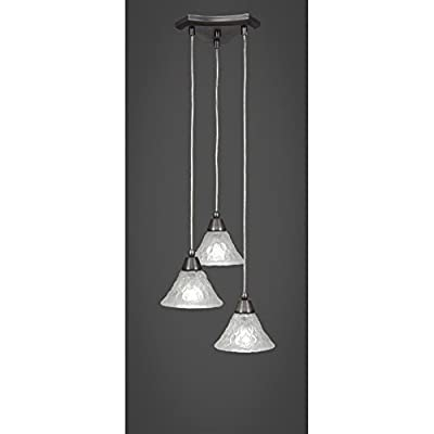 "Toltec Europa 3 Light Multi Light Mini Pendant in Brushed Nickel with 7"" Italian Bubble Glass"