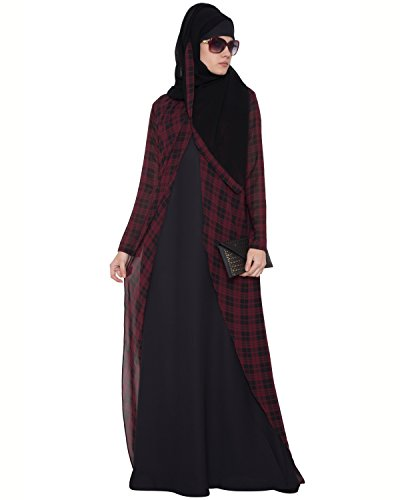 Mushkiya Women's Kashiboo Georgette Color: Red Abaya Dress ABD-027