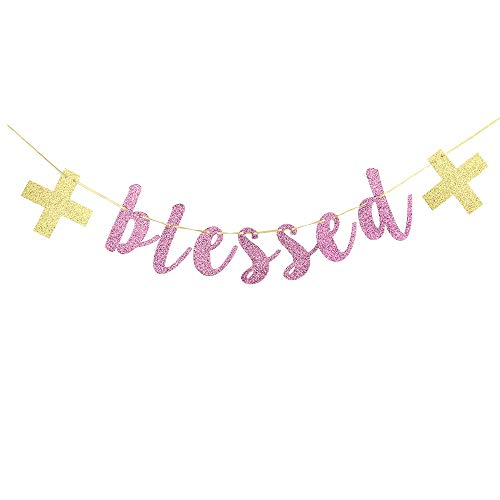 Blessed Banner - Pink Glitter Sign Communion Party Banner, Baptisim Christening - First Baby Shower Decoration for Girl ()