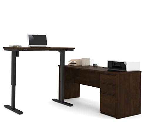 Bestar Prestige + L-Desk Including Electric Height Adjustable Table, Chocolate