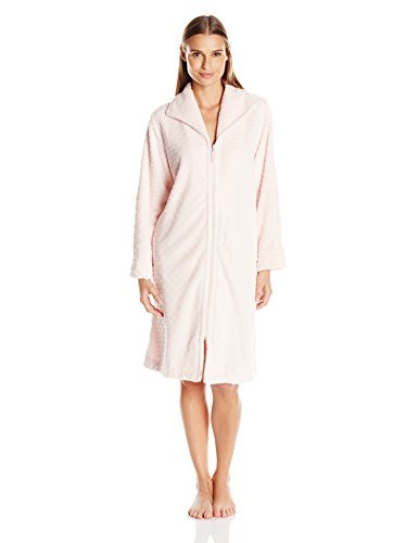 OSCAR DE LA RENTA Pink Label Women's Plush 40 Inch Zip Front Robe, Pink Magnolia Large/X-Large ()