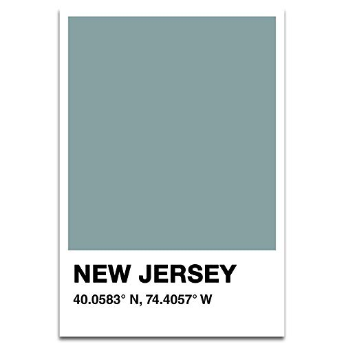 Visionary Prints New Jersey Color Swatch - Modern Cities Art Print. Jersey City Poster Print. Green, 13