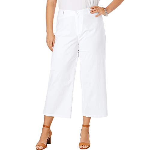 Jessica London Women's Plus Size Wide Leg Poplin Crop - White, 24 W