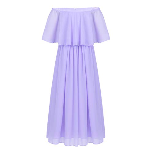 - dPois Big Girls' Off-Shoulder Princess Long Dress Wedding Pageant Birthday Party Chiffon Maxi Dresses Lavender 12