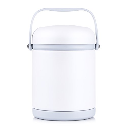s Steel Food Jar Vacuum Food Flask Wide Mouth Lunch Container BPA Free for Travel, Camping and Hiking (White) (White) (800 Ml Box)