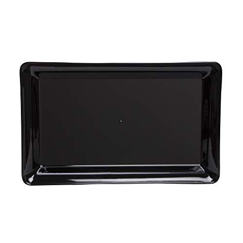 CaterLine Heavyweight Plastic Rectangle Catering Tray, 18 x 12-Inch, Black (20-Count)