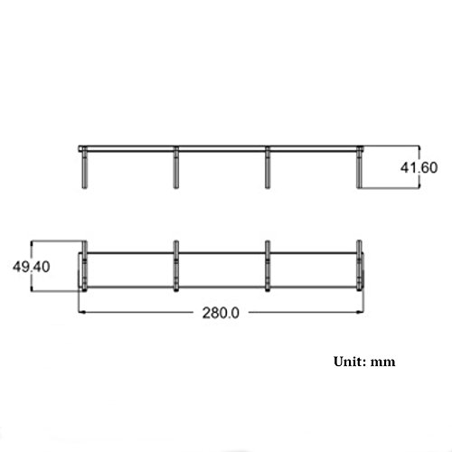 BOEN Coat Hook Rack/Rail with 4 Pronged Hooks Wall Mount Solid Aluminum,A2024H4-1 by BOEN (Image #1)
