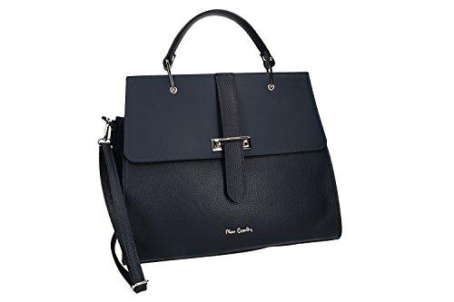 Tasche damen mit schultergurt PIERRE CARDIN blau leder Made in Italy VN866