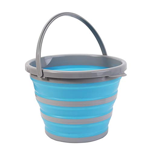 Y-MING 10L Premium Collapsible Bucket - Portable Folding Water Container - Space Saving Bucket for Washing Dishes and Person During Camping, Hiking and Home (Blue)