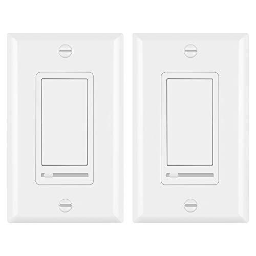 2 Pack Bestten Decorative Rocker Light Dimmer Switch
