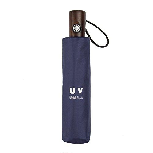 UV Protection Umbrella Handmade real wood handle – Auto Open/Close Umbrella Black Vinyl Coated Cloth Blue Umbrella – by QH
