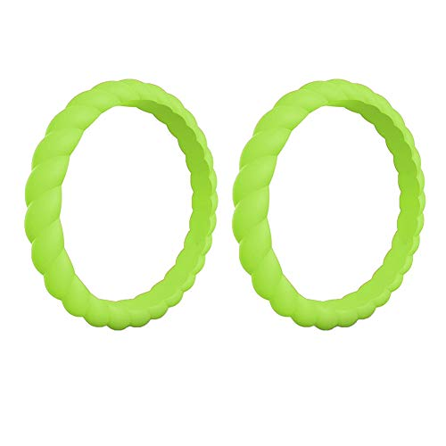gu6uesa8n Solid Color Silicone Ring for Men Women Twist Rubber Band Stackable Wedding Engagement Jewelry Yoga Sport Finger Rings - Grass Green US 4 - Green Brushed Silver Twist