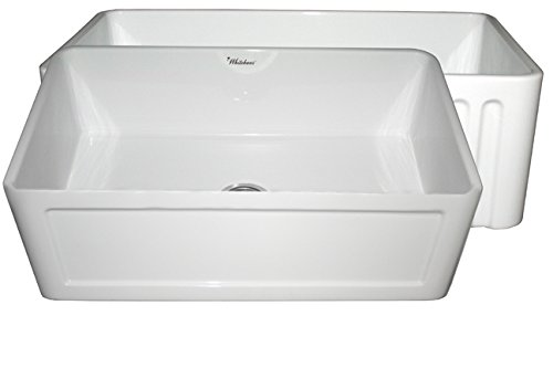 (Whitehaus Collection WHFLCON3018-WHITE Farmhaus Fireclay Reversible Kitchen Sink with a Concave One Fluted Front Apron on The Opposite Side, White)