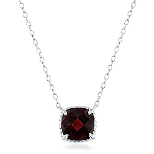 Sterling Silver Square Garnet Gemstone Rope Design Border 16+2