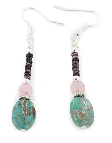 Native-Bay Delicate Authentic Made by Charlene Little Navajo Silver Hooks Dangle Natural Turquoise Pink Quartz American Earrings