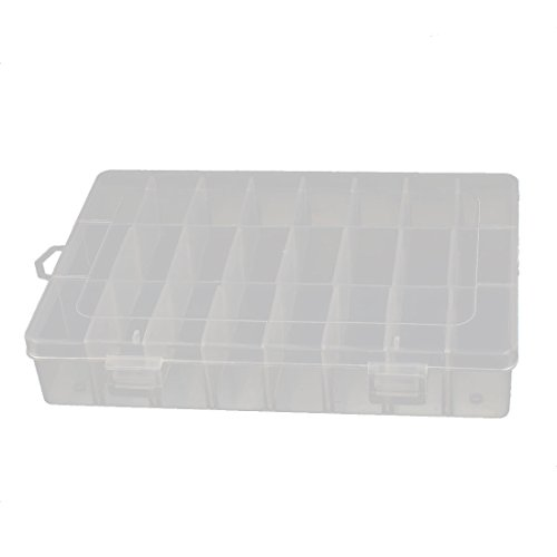 uxcell Plastic 24 Grids Electronic Components Storage Box Case Clear White