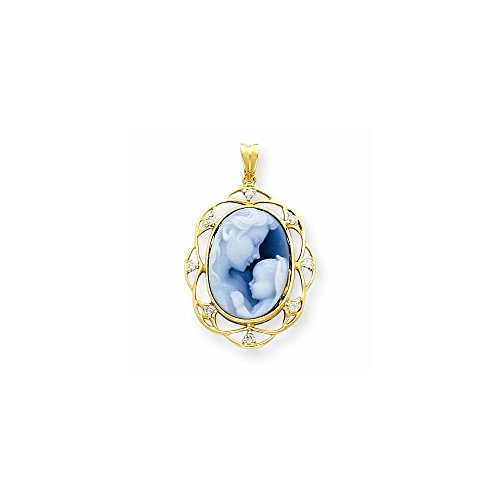 14k Yellow Gold Heavens Gift Diamond Cameo with Sentiment Pendant