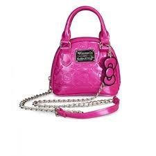 Hello Kitty Hand Bag Bright Rose Shiny Patent Micro Dome with Metal Chain ()