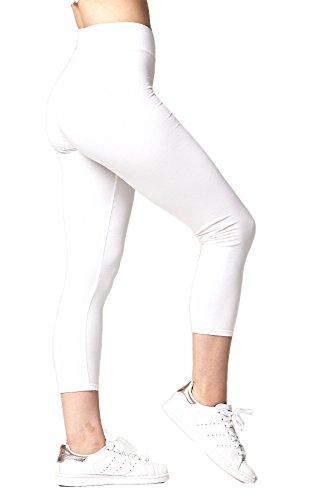 Conceited Premium Cotton Spandex Jersey Lightweight Leggings - High Waist Yoga Waistband - 10 Colors - 6 Sizes (Cotton White Leggings)