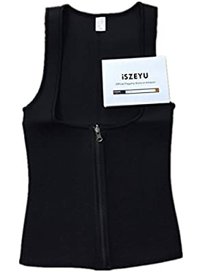 iSZEYU Neoprene Waist Trainer Vest with Zipper for Weight Loss Black XS-8XL