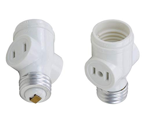 Harrier 2 Outlet Socket Adapter Splitter, 2-Prong Polarized Outlets, Medium Base, White, 2 Pack