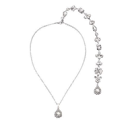 - Crystal Rhinestone Backdrop Necklace Body Chain Rhinestone Wedding Jewelry Backless Dress Accessories (Style 5)